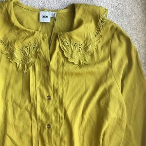 NWT ASOS Chartreuse Collared Blouse